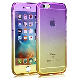 Protective 360 Shockproof Silicone Case Cover For Apple iPhone 7 Plus 5.5 Inch Purple/Yellow