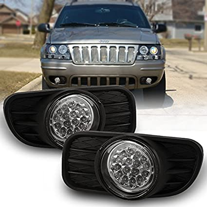 amazon com: for 1999-2004 jeep grand cherokee black bracket clear lens led  fog light w/switch + wiring + relay: automotive