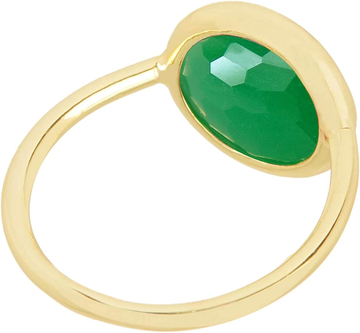 SPARKLER JEWELS Green Onyx,10mm Round,925 Sterling Silver,Band Style Rings,Gemstone Jewelry Claw Rings,Best Gift