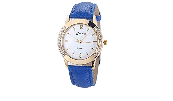 Amazon.com: Womens Watch,Geneva Diamond Analog Wristwatch Leather Quartz Party Wrist Watch Axchongery (Blue): Cell Phones & Accessories