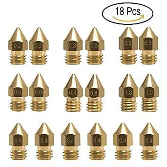 18 Pcs Boquilla Extrusora MK8 M6 Impresora 3D Extrusora Cabezal de Impresión Boquilla de Latón con 7 Tamaños Diferentes (0.2mm,0.3mm,0.4mm ,0.5mm, 0.6mm, 0.8mm,1.0 mm)
