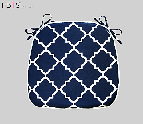 Chair Cushion 16 x 17 Inches Indoor/Outdoor Seat Pads Square (Set of 2, Navy, Quatrefoil Lattice) for Outdoor Patio Furniture Garden Home Office by FBTS Prime (Cushions Navy Chair Dining)