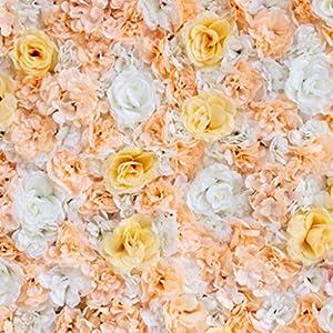 Flameer 40X60cm Artificial Silk Plastic Rose Flower Panel Wall Decoration Decorative Grass Turf Wedding Venue Backdrop Decor - Flower A, 40x60cm 3