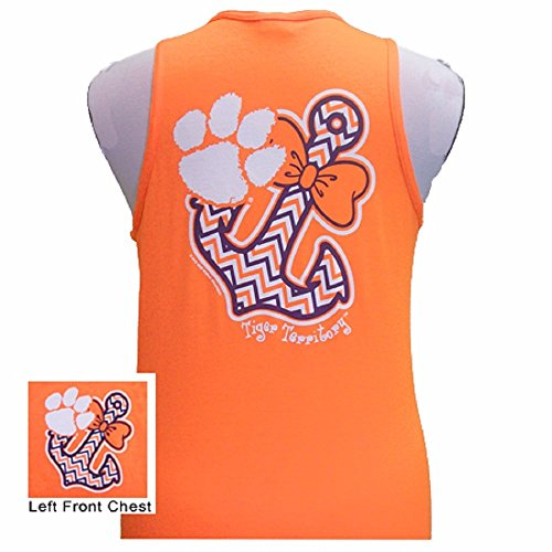 Clemson Tigers Chevron Bow Tie and Anchor Ladies Girls Tailgate T-Shirt (Orange Tank Top, ()