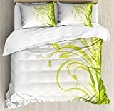 Ambesonne Green Duvet Cover Set Queen Size, Bamboo with Artistic Floral Curly Leaves Asian Feng Shui Zen Garden, Decorative 3 Piece Bedding Set with 2 Pillow Shams, Lime Green Pale Green White