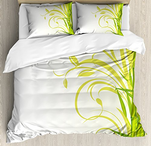 Set Bedroom Bamboo Bedroom (Ambesonne Green Duvet Cover Set Queen Size, Bamboo with Artistic Floral Curly Leaves Asian Feng Shui Zen Garden, Decorative 3 Piece Bedding Set with 2 Pillow Shams, Lime Green Pale Green White)