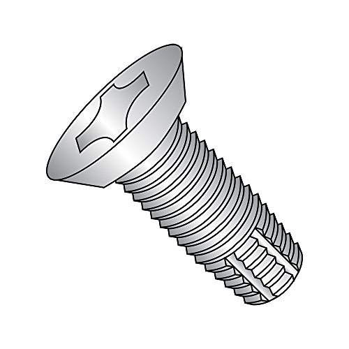 "18-8 Stainless Steel Thread Cutting Screw, Plain Finish, 82 Degree Flat Undercut Head, Phillips Drive, Type F, #12-24 Thread Size, 1/2"" Length (Pack of 25)"