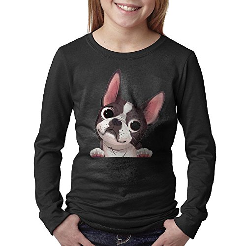 Cute Boston Terrier Youth Casual Long Sleeve Round Neck Sweatshirt T-Shirt - Best Eyeglasses Boston