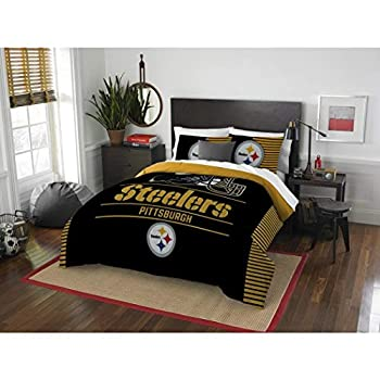 Image of 3pc NFL Pittsburgh Steelers Comforter Full Queen Set, Fan Merchandise, Team Spirit, Unisex, Football Themed, Black, National Football League, Yellow, Sports Patterned Bedding, Team Logo