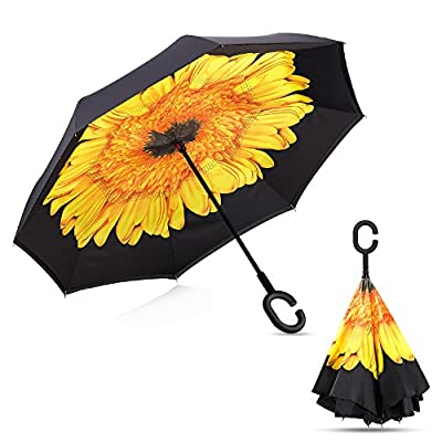 Ylovetoys Inverted Umbrella Double Layer Windproof Reverse Umbrella for Car and Outdoor Use
