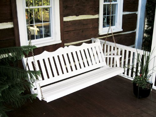 Outdoor 6 Foot Royal English Garden Porch Swing - PAINTED- Amish Made USA -White