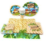 Jungle Animal Safari Kids Birthday Party Supplies 6-Piece Bundle, Including Disposable Plates, Napkins, Cups for 8 and 1 Table Cloth