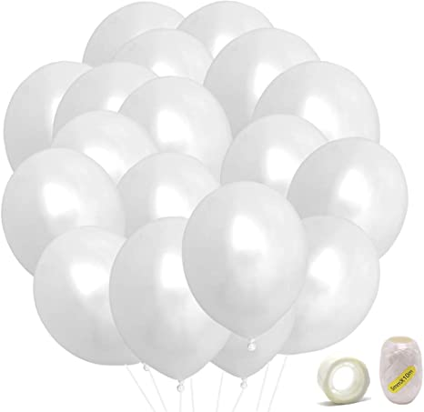 White Balloons Latex Party Balloons 50 pack 12 Inches Helium balloons for Wedding Birthday Party Decorations