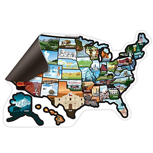 (SEE MANY PLACES .com RV State Magnet United States Travel Camper Map RV Includes 50 State Decal Stickers with Scenic Illustrations 21
