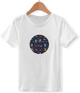 DIYthinker Jungen Bunte Octopus Marine Leben Muster Rundhalsausschnitt Weißes T-Shirt