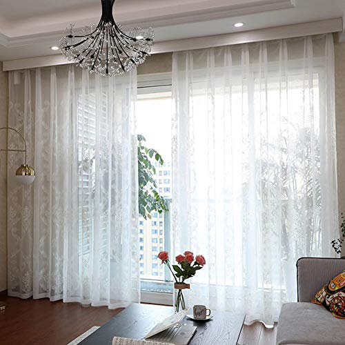 Style Freightliner (Aside Bside White Sheer Window Curtains European Style Floral Embroidered Rod Pocket Voile Tulle Curtains for Living Dining Room(1 Panel, W 50 x L 72 inch, White))