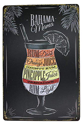 Bruyu5se Tin Sign, Metal Sign Bahama Mama Rum Orange Pineapple Juice, Drink Poster Metal Tin Sign, Vintage Plaque Pub Bar Dining Room Home Wall Decor 12