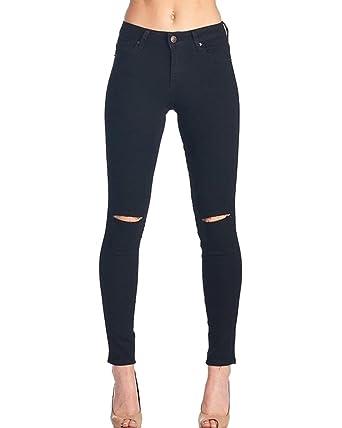 many fashionable the best exquisite style Femme Denim Pantalons Slim Taille Haute Jeans Troué Genoux ...