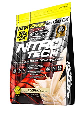 MuscleTech NitroTech Protein Powder Plus Muscle Builder, 100% Whey Protein with Whey Isolate, Vanilla, 103 Servings (10lbs) ()