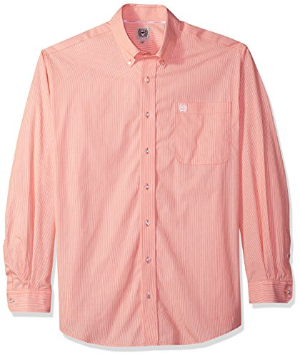 Classic One Pocket (Cinch Men's Classic Fit Long Sleeve Button One Open Pocket Stripe Shirt, Orange, M)
