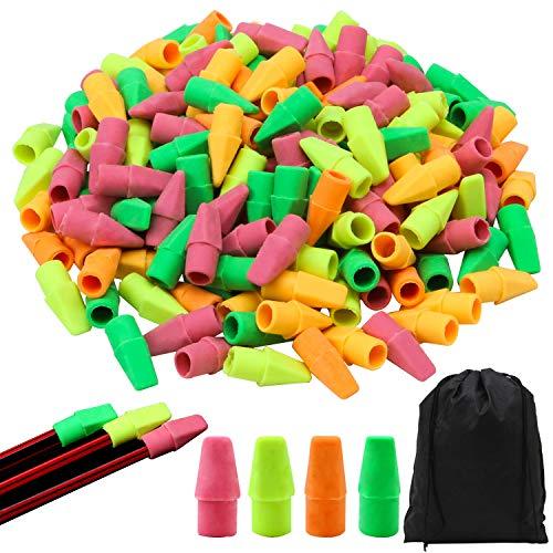 Resinta 200 Pieces Pencil Eraser Caps Pencil Eraser Toppers Pencil Top Eraser Caps with Storage Bag, Assorted Colors -