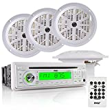 Pyle Marine Stereo Receiver & Speaker Kit with CD Player, AM/FM Radio, MP3/USB/SD Readers, Single DIN, (4) Waterproof 5.25'' Speakers, Splash Proof Cover (PLCD6MRKT)