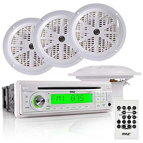 Pyle Marine Stereo Receiver & Speaker Kit with CD Player, AM/FM Radio, MP3/USB/SD Readers, Single DIN, (4) Waterproof 5.25'' Speakers, Splash Proof Cover (PLCD6MRKT) ()