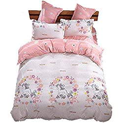 "Girls Magic Unicorn Bed Set by KMZ [4pcs Full size bedding 70""x86""- Flat sheet,duvet cover,2 pillow cases.No Comforter] pink princess worthy theme, Quality Microfiber,Soft,No chemicals,100% kids safe"
