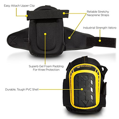 Professional Knee Pads with Layered Gel - Heavy Duty Foam Padding Kneepads - Cozy Gel Cushion Knee Pad - Strong Straps, Adjustable Clips - for Work, Cleaning, Gardening, Construction, Flooring by Minor Miracle Home Solutions (Image #1)