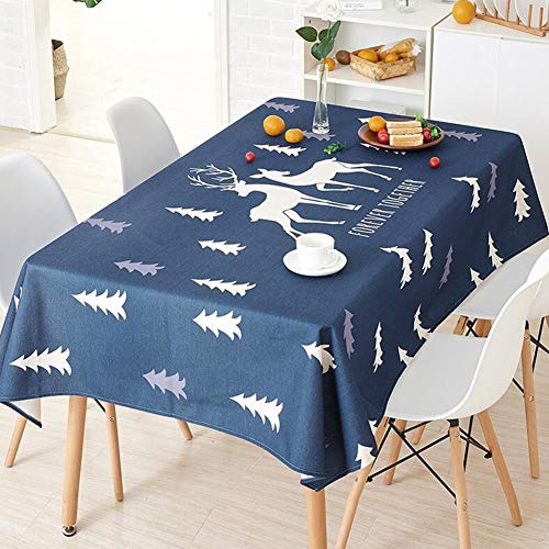 QY Tablecloth Cotton Flax Tablecloth Kitchen Rectangle Dust-proof Decoration Nordic Fresh Green Plant Creative Tablecloth Living Room Square Coffee Table (color : Double deer, Size : 140x200cm) (Coffee Table Deer Square)