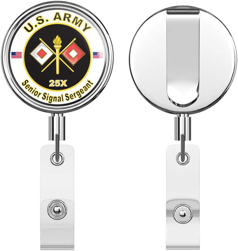 Army MOS 25X Senior Signal Sergeant Round ID Badge Key Card Tag Holder Badge Retractable Reel Badge Holder with Belt Clip U.S