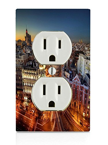 Popular Madrid at Night Print Electrical Outlet Plate by LE Prints