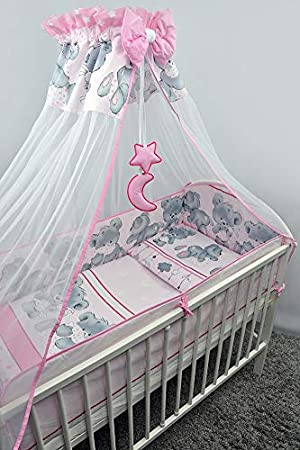 8 Piece Baby Bedding Set with Drape and All-Round Bumper fits 140x70cm Cot Bed Blue