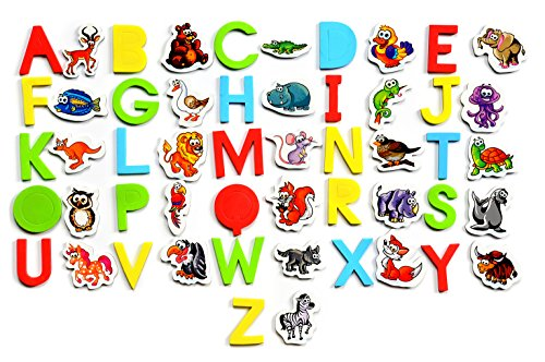Amazing Baby Alphabet Blocks (LEARN with FUN - Magnetic Letters and Animals Toys for Educational Fun - ✮SET OF 56✮ Colorful Pieces - Puzzle Alphabet - CHARACTERS MAGNETS for kids)