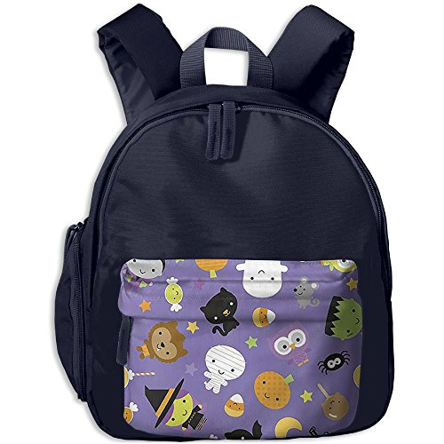 Halloween Witch Cat Moon Purple Background Kid's School Bags Adjustable Shoulder Backpack For School And Travel Time
