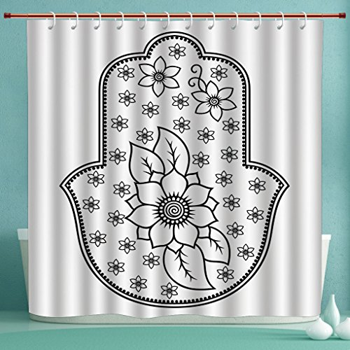 iPrint Fabric Shower Curtain,Hamsa,Ancient Hand of Fatima with Cute Lotus Blossoms Kabbalah Theme Mehndi Style Artwork,Black White,Polyester Fabric Bathroom Curtain Ideas -