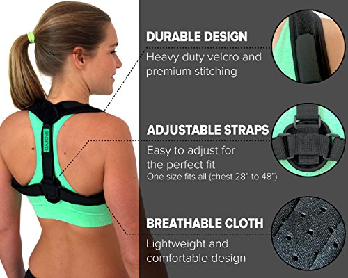 SPOEVO Back Posture Corrector for Women & Men - Bundle Includes Massage Ball & Resistance Band with Back Straightener Posture Brace for Natural Spine Alignment by SPOEVO (Image #3)