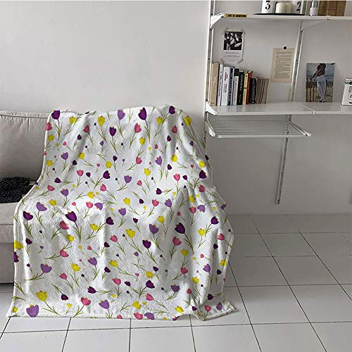 (Khaki home Children's Blanket Chair Digital Printing Blanket (35 by 60 Inch,Tulip,Limitless Tiny Little Tulip Motifs Over Plain Backdrop Seasonal Romantic Concept,Purple Yellow)