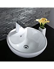 DECORAPORT Above Counter Ceramic Vessel Sink Bowl Bathroom Vanity Sink with Integrated Faucet Hole