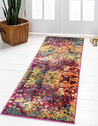Unique Loom Jardin Collection Colorful Abstract Multi Runner Rug (2' 7 x 8' 0) (Turquoise Kitchen Orange And)