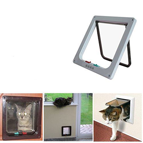 25cm* 23.5cm*5.3cm//9.8 inch*9.3inch*2inch Wiiguda Cat Door Flap 4 Way Locking Pet Door Flaps for Cats and Small Dogs Black