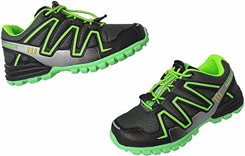 Kinder Freizeit Turnschuhe Sneaker Mädchen Schuhe Sport Gr.25 - 36 Art.-Nr.12557 schwarz-d.grau-grün
