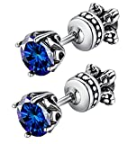 Beydodo Stainless Steel Men Women Stud Earrings Reversible Side Vintage 4-prong Royal Earrings Stud Blue