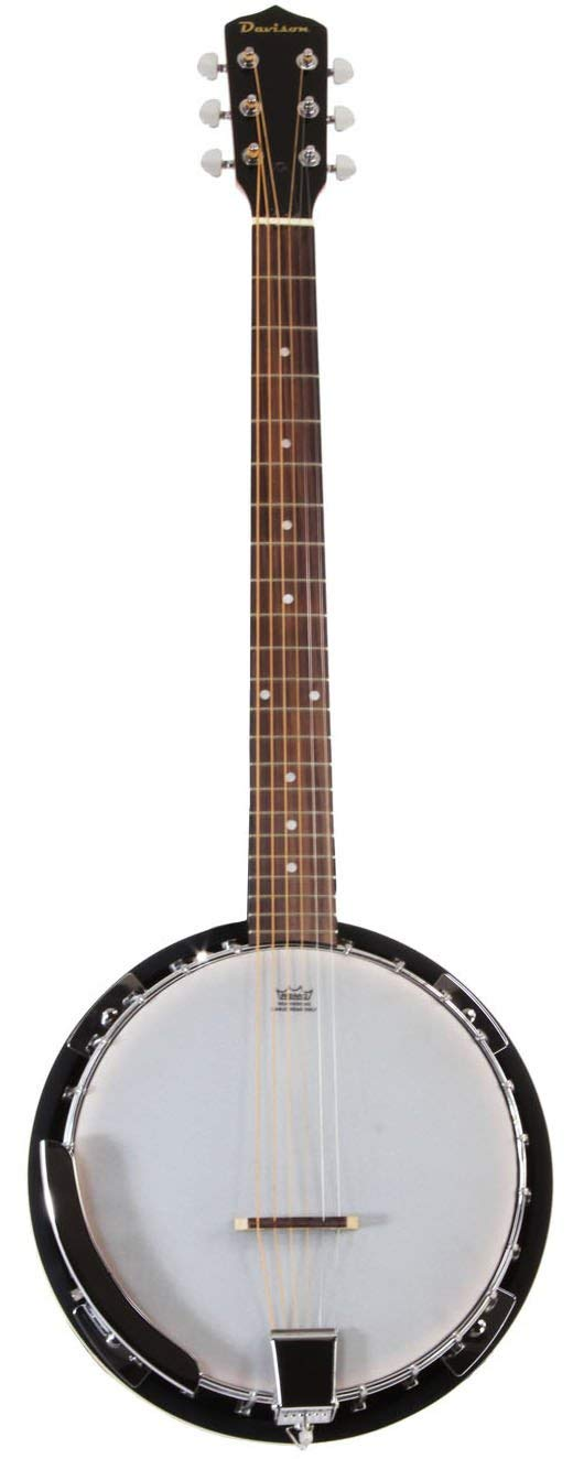 6 String Banjo Guitar with Closed Back Resonator and 24 Brackets (Renewed)