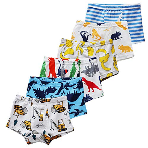 - CHUNG Little Big Boys Soft Cotton + Modal Boxer Briefs Underwear 5 or 6 Pack Dinosaur Print 3-9Y (6 Pack-Banana,8-9 Years)