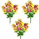 MARJON-FlowersFloral-Silk-50cm-Large-Artificial-Winter-Pansy-Bush-Blue-Yellow-and-Purple-Fowers
