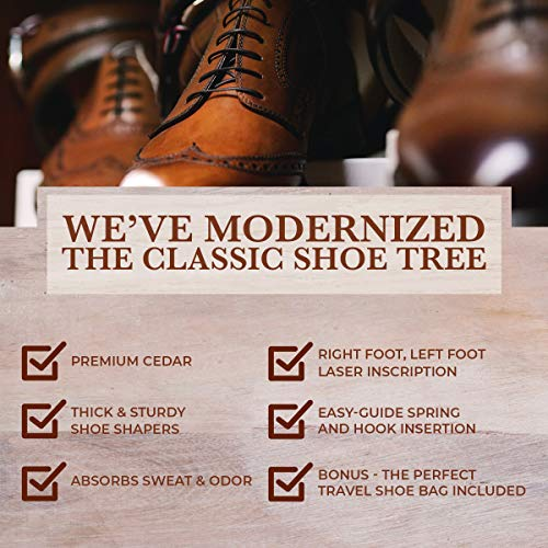 The Original Shoe Tree Company - Cedar Shoe Trees for Men - Fresh Aroma - Maintain Size and Shape of High-End Men's Dress Shoes - Left, Right Laser Markings - 2pk