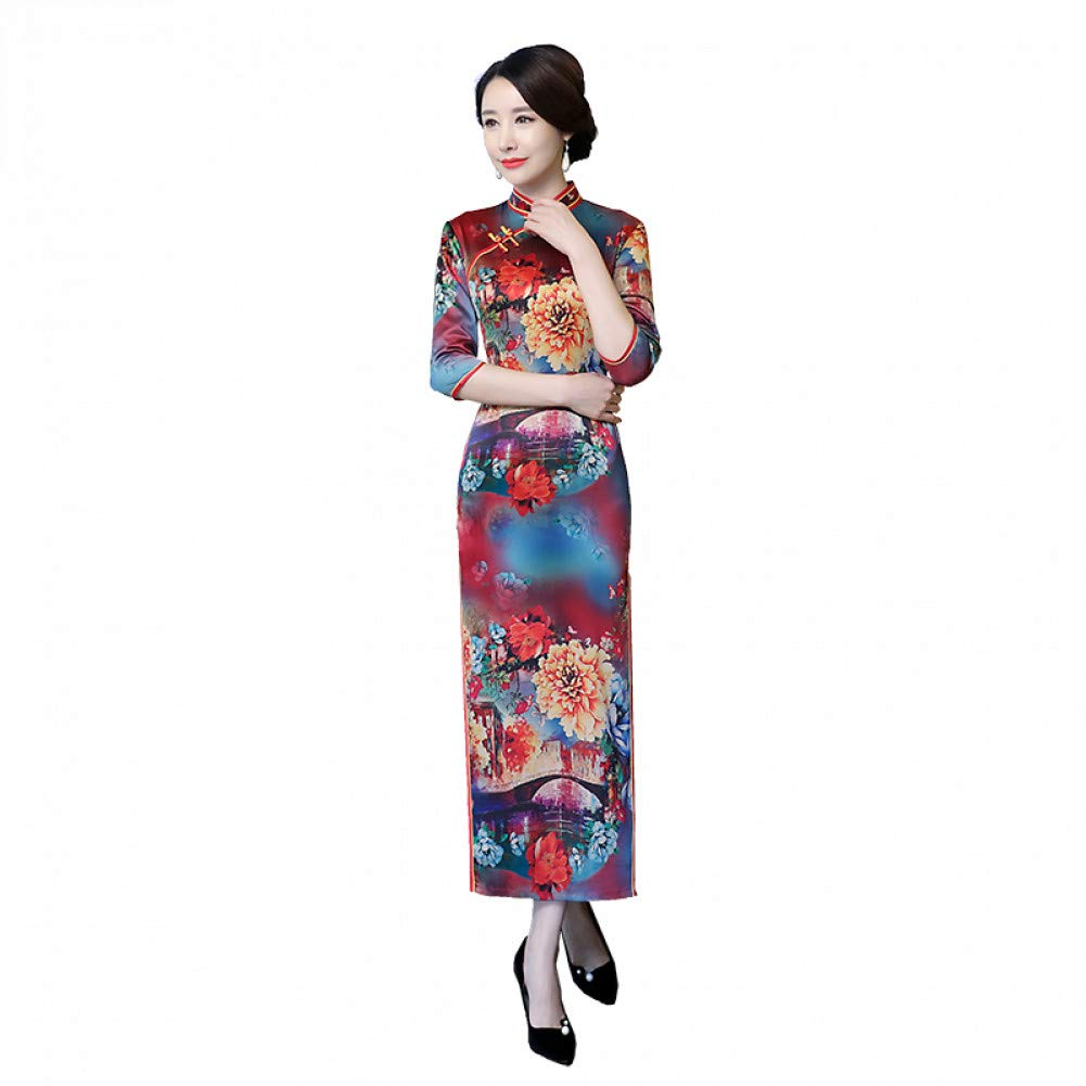 L BINGQZ Middle-aged female improvement cheongsam new retro mother noble sleeves slim pack hip long section