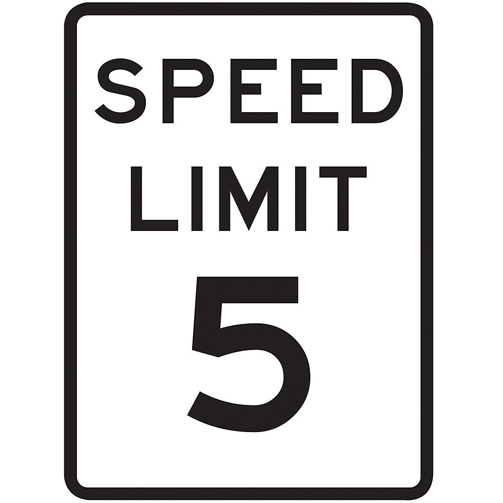 Tapco R2-1 Engineer Grade Prismatic Rectangular Lane Control Sign, Legend ''SPEED LIMIT 5'', 18'' Width x 24'' Height, Aluminum, Black on White
