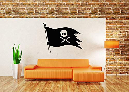 Vinyl Sticker Pirate Flag Map Ship Treasure Island Skull Compass Sea Ocean Life Jolly Roger Naval Fairy Tale Cartoon Character Nursery Halloween Poster Mural Decal Wall Art Decor -